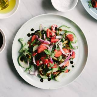 Strawberry Cucumber Salad with Basil and Mint