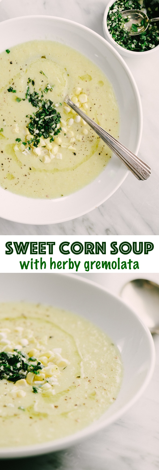 This recipe for sweet corn soup is everything I love about summer - tender sweet corn, fresh herbs, and bright flavor. It's an easy, whole food, weeknight recipe that is naturally vegetarian and gluten-free. #healthy #wholefood #realfood #vegetarian