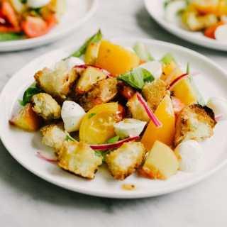 Peach Panzanella Salad