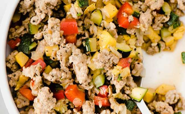 Paleo Ground Turkey Hash With Squash And Peppers Our
