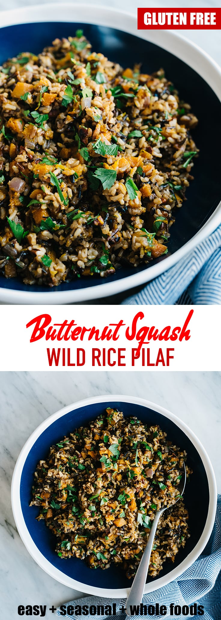 I love having grain salads or pilafs on hand for easy lunches or side dishes, and this honeynut butternut squash rice pilaf is a rockstar addition my usual rotation. It's the perfect balance of nutty and sweet, with a bright herby finish. This is a solid, seasonal, deeply nutritious recipe. #vegan #vegetarian #butternutsquash #wholefoods #realfood