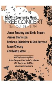 Mid-City Community Music: Free Concert @ Our Savior's Lutheran Church   San Diego   California   United States