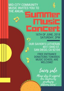 Summer Music Concert & TACOS SALE @ Our Savior's Lutheran Church | San Diego | California | United States