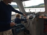 Graham steering the boat looking for Nessie