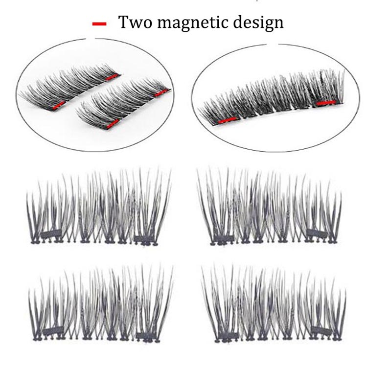 2Pairs/4X Triple Magnetic Eyelashes Handmade Reusable