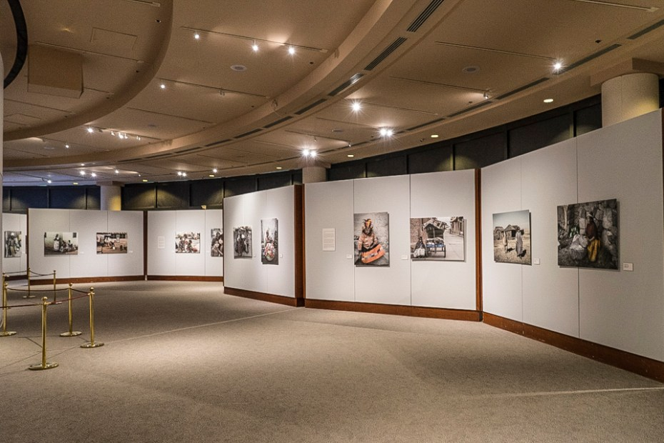 View of part of the exhibit before the opening