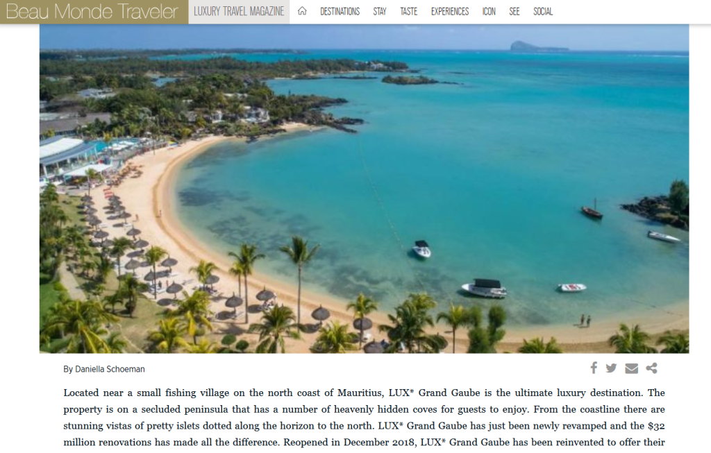 Luxury Travel in Mauritius Redefined for Today's Traveller at LUX* Grand Gaube