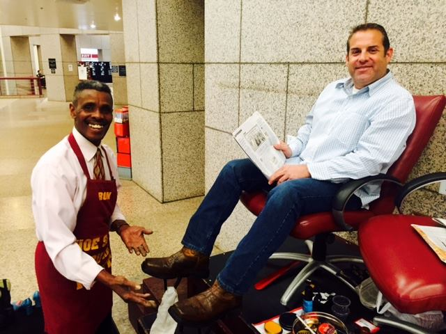 It's not just a shoeshine, it is protection from the weather and a foot massage