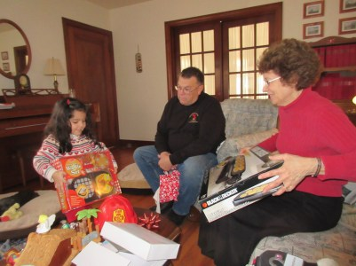 Annelise and Grandma comparing their breakfast making gifts