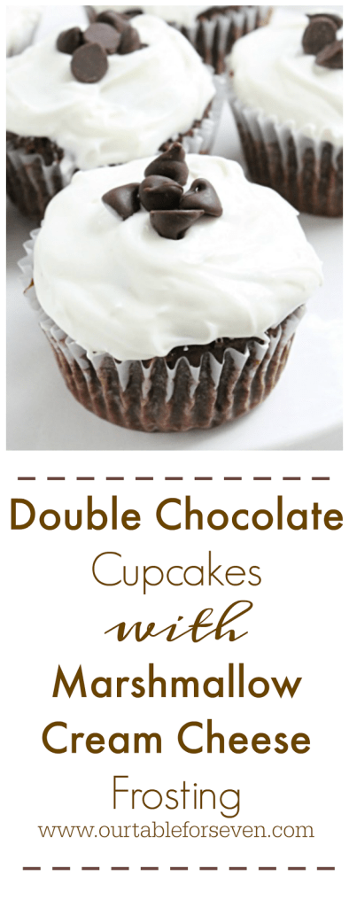Double Chocolate Cupcakes with Marshmallow Cream Cheese Frosting