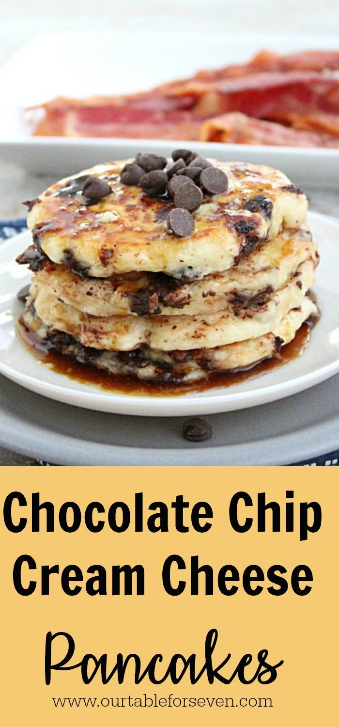 Chocolate Chip Cream Cheese Pancakes