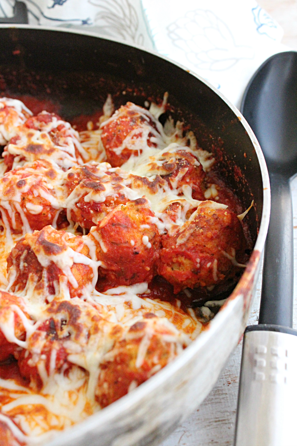 Cheesy Skillet Meatballs from Table for Seven