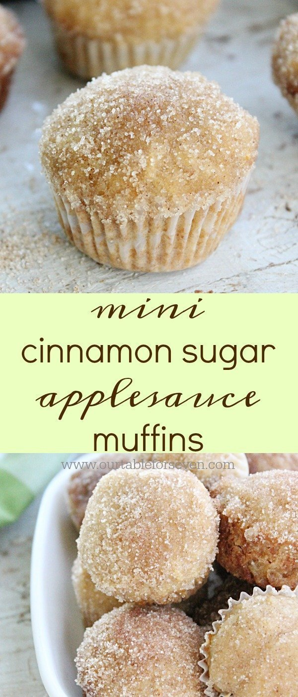 Mini Cinnamon Sugar Applesauce Muffins from Table for Seven