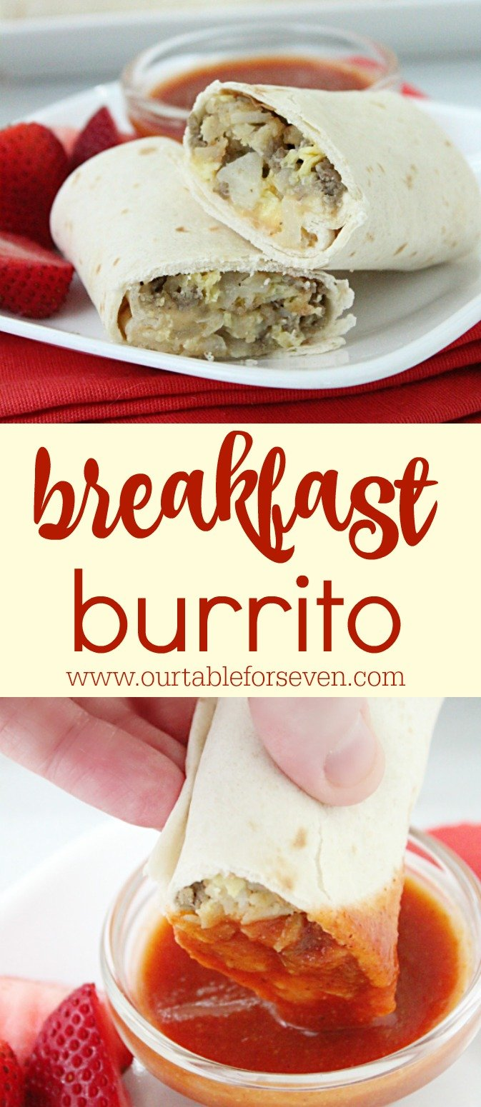 Breakfast Burritos with Homemade Taco Sauce from Table for Seven