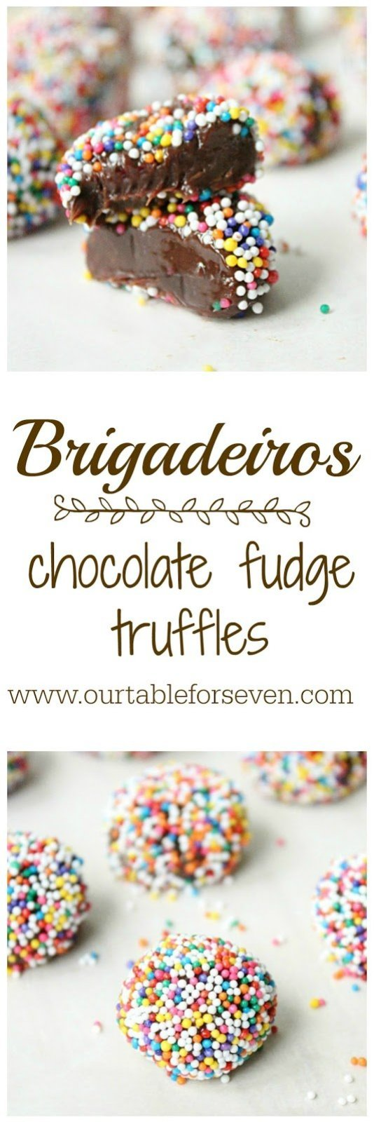 Brigadeiros (Chocolate Fudge Truffles) from Table for Seven: Gooey and chocolaty! No baking required for this addicting little candies and all you need is just 4 ingredients!
