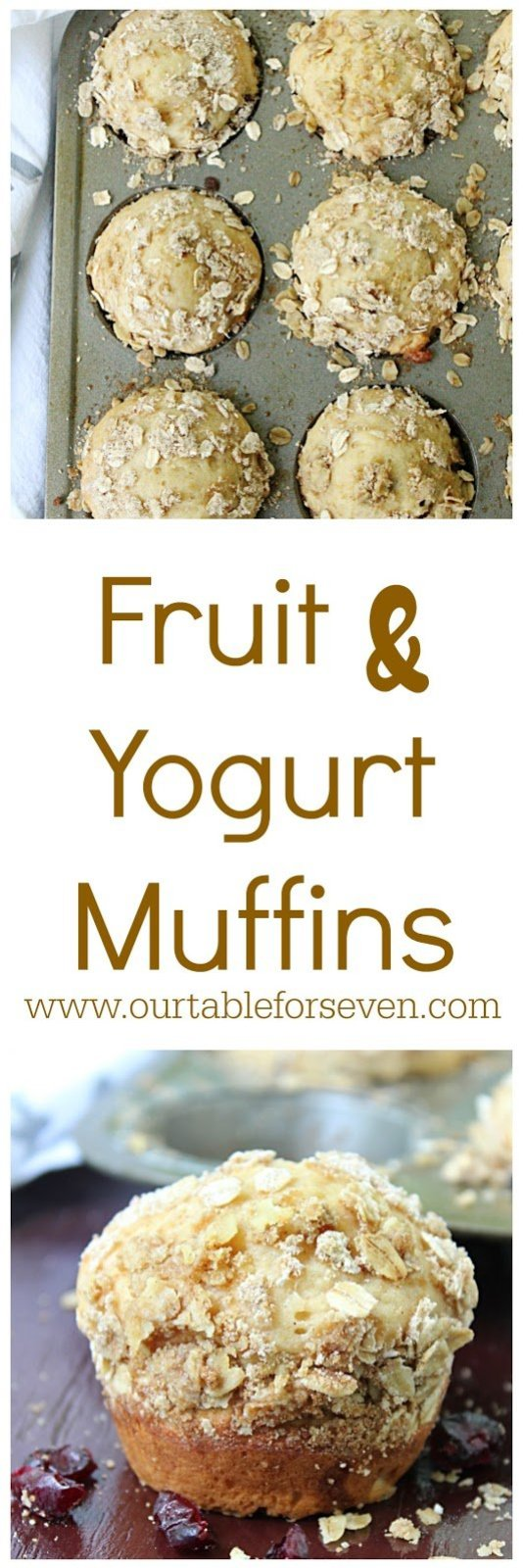 Fruit and Yogurt Muffins from Table for Seven: Delicious and versatile! Loaded with creamy yogurt and your choice of fruit, these muffins will soon be your new favorite breakfast.