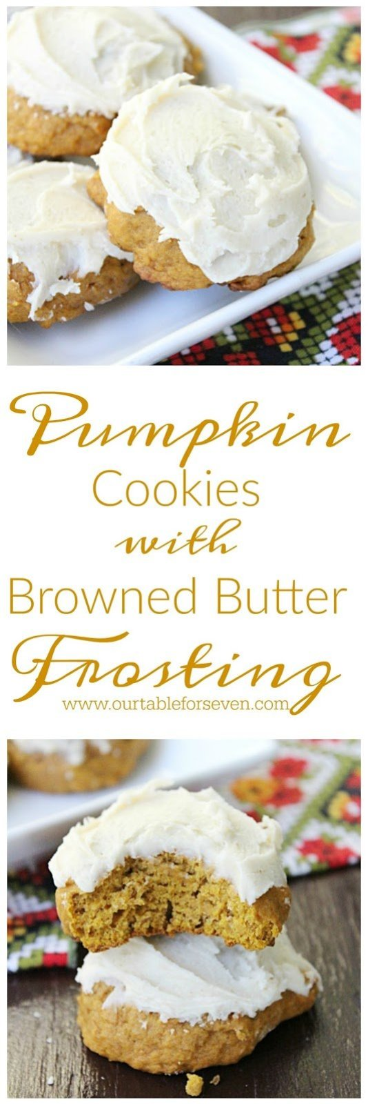 Pumpkin Cookies with Browned Butter Frosting from Table for Seven