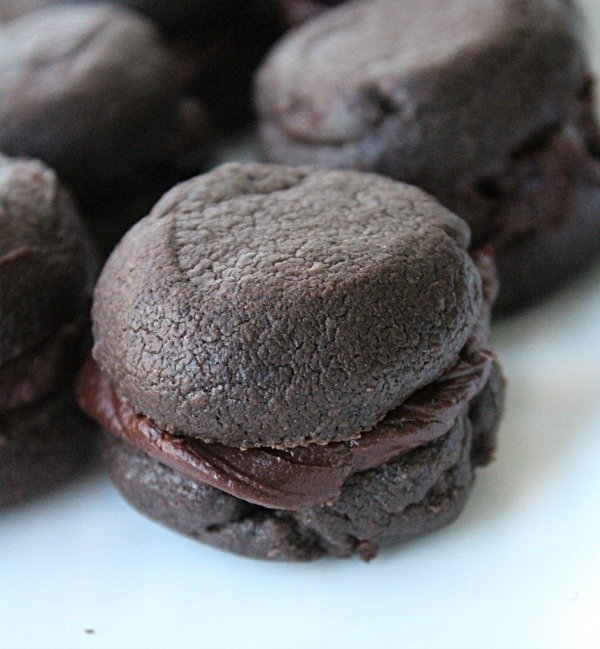 Chocolate Sandwich Cookies with Chocolate Filling (eggless) from Table for Seven