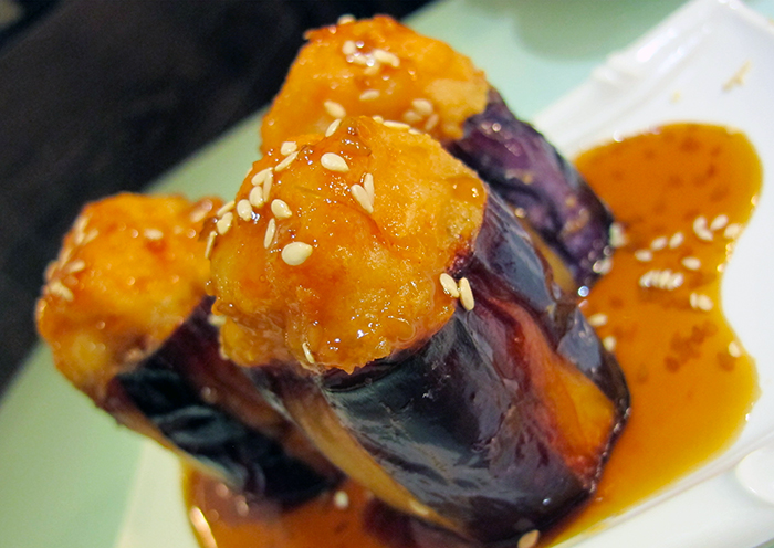 Pan-fried Stuffed Eggplant with Teriyaki Sauce http://ourtastytravels.com/blog/dimdimsum-dim-sum-hong-kong/ #dimsum #hongkong #ourtastytravels