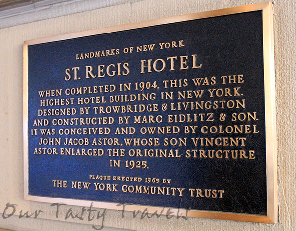 "The St. Regis Hotel in New York City, recognized as the American birthplace of the ""Red Snapper"" cocktail, or the Bloddy Mary. http://ourtastytravels.com/blog/st-regis-hotel-new-york-city-american-birthplace-of-the-bloody-mary-cocktail/ #ourtastytravels"