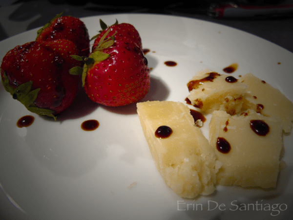 Fresh strawberries and Parmigiano cheese with aged balsamic vinegar from Modena, Italy http://ourtastytravels.com/blog/photo-of-the-week-strawberries-and-parmigiano-with-balsamic-vinegar/ #ourtastytravels #italy