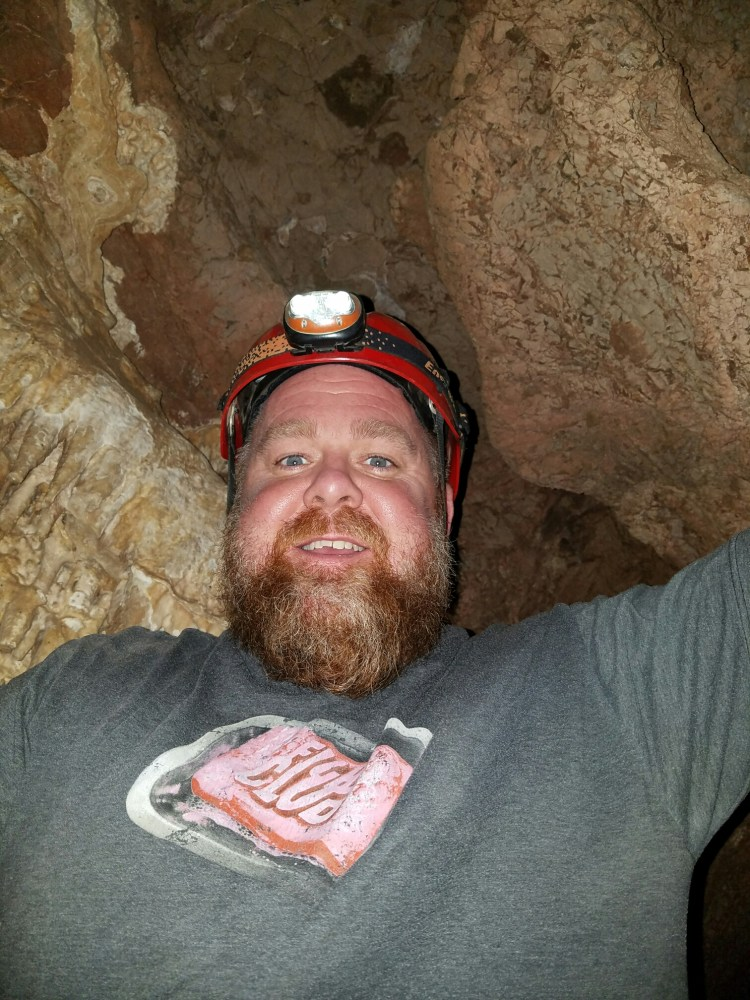 Helmets & headlamps are a must when you are spelunking