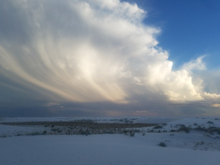 Sweeping clouds over White Sands National Monument New Mexico