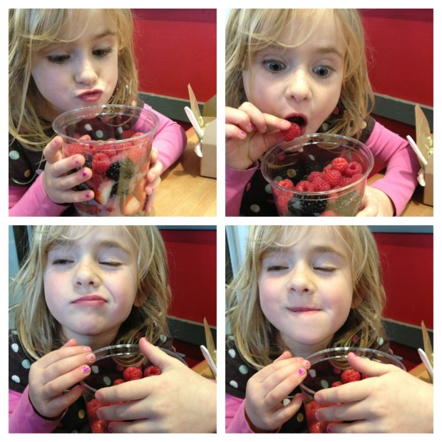 """She has been learning about telling stories at school so wanted to tell a """"story"""" about enjoying her fruit."""