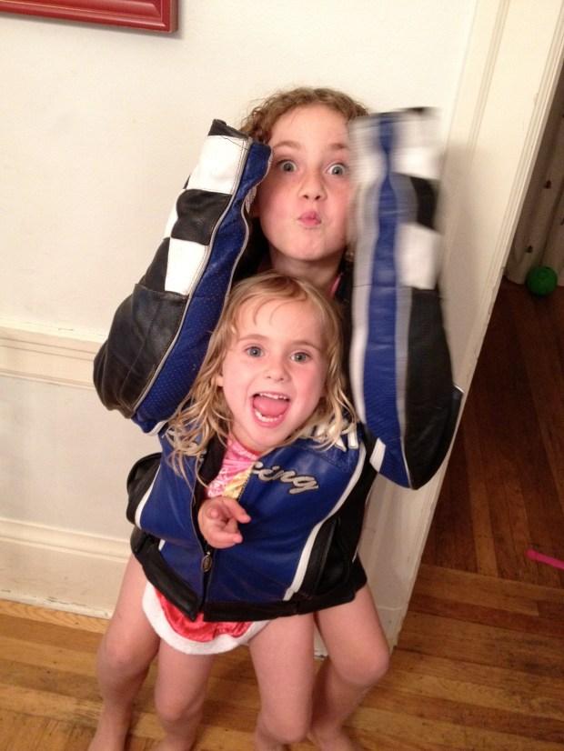 Chloe- Let's get inside dad's jacket