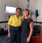 Linda on set with Shannon Foley Martinez on Our Voices Matter Podcast.