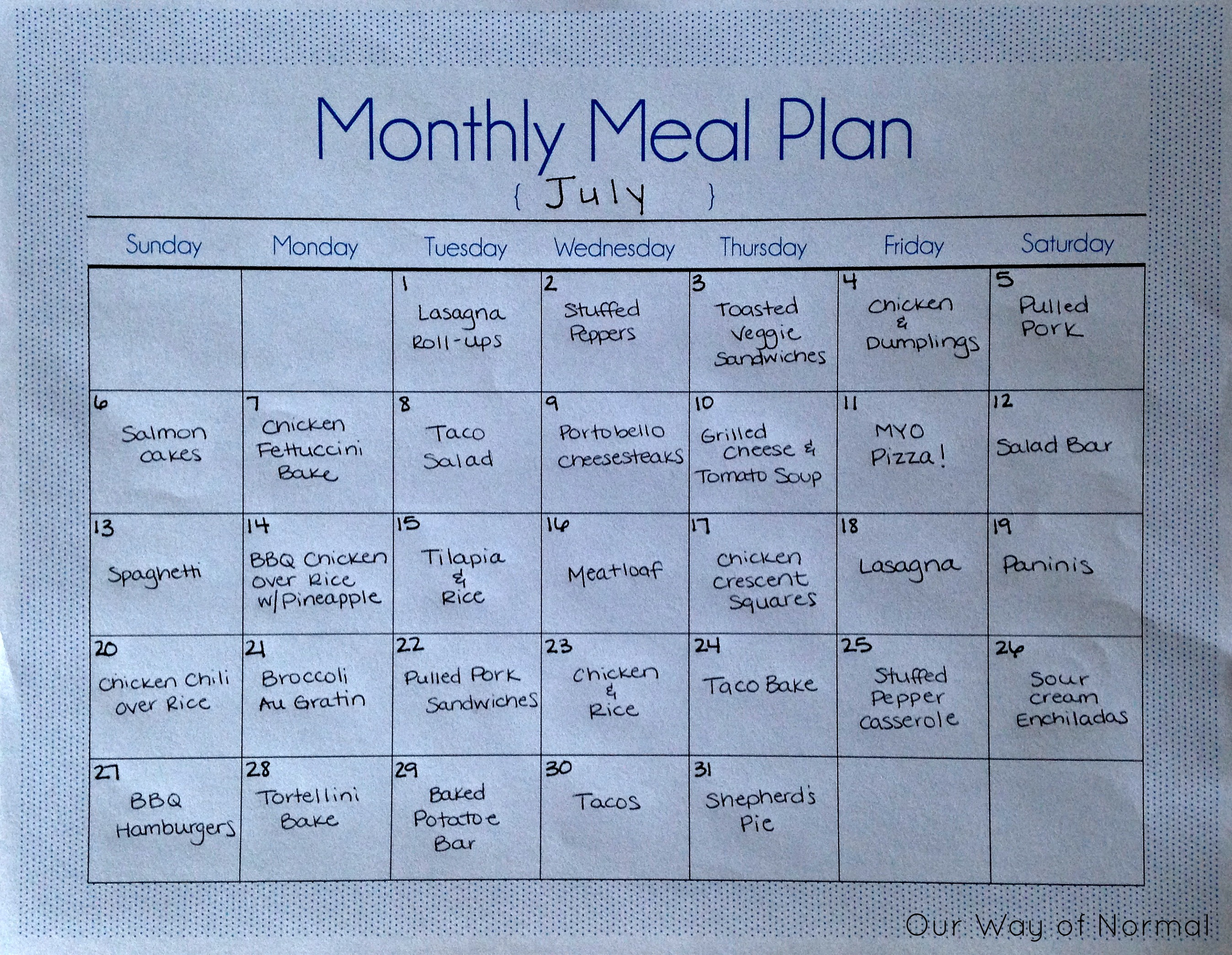 Monthly Meal Plan | Our Way of Normal