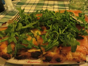 My selection once again, salmon and arugula.