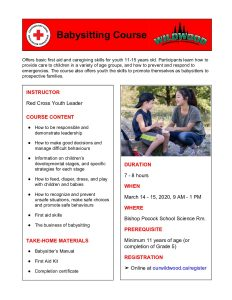 Babysitting Course Poster