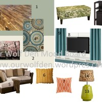 Mood Board - Green, Blue, and Brown Living Room