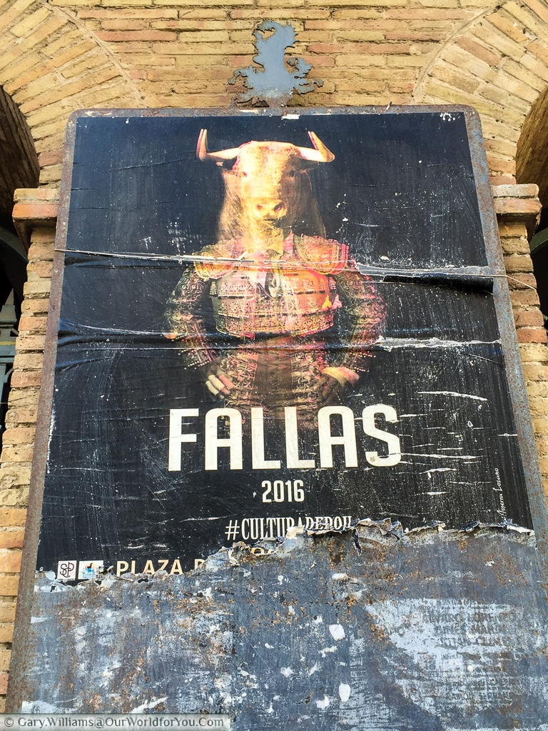 A poster advertising a Bullfight at the Plaza de Toros de Valencia, Spain