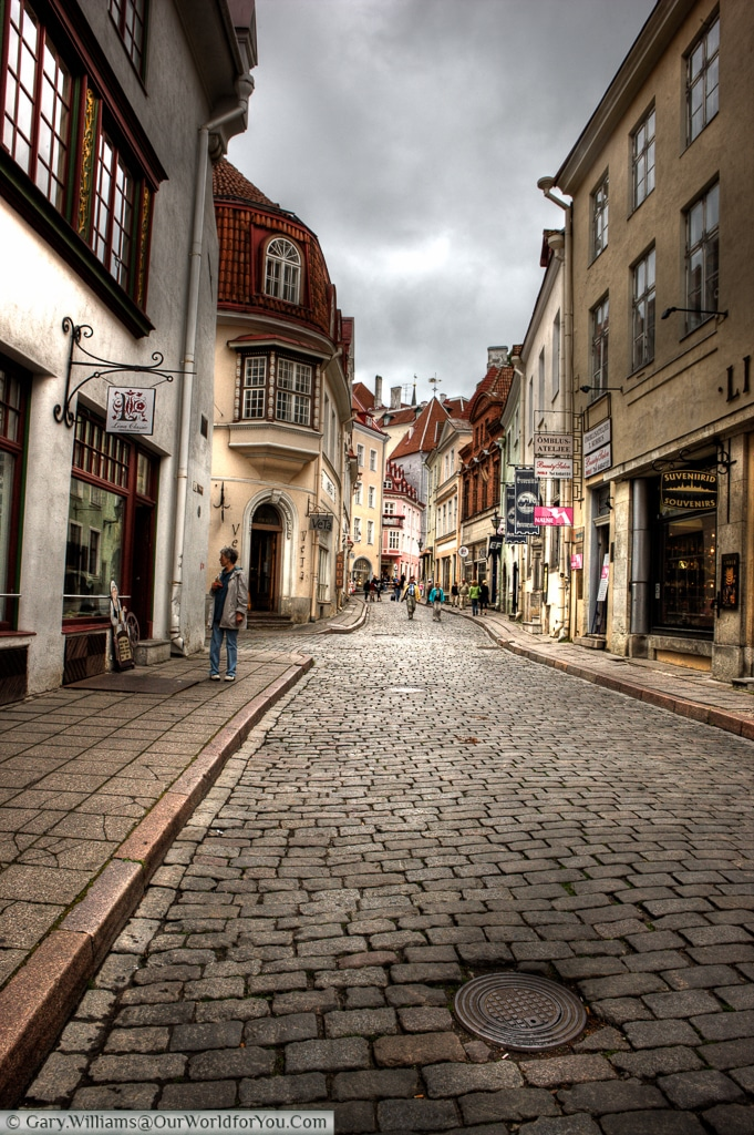 This cobbled street, Pikk, lies just a stones throw from the old town square in Tallinn.