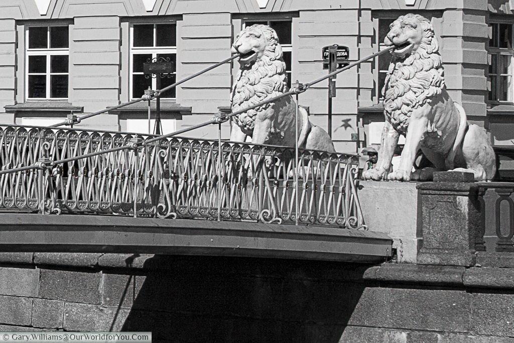 The Lion Bridge ,in Black & White, over the Griboedov Canal in St Petersburg, Russia