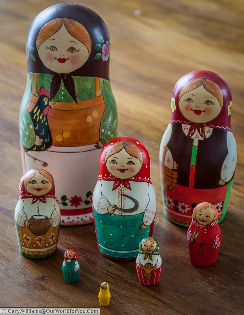 The family group of Matryoshka Dolls, all eight of them.