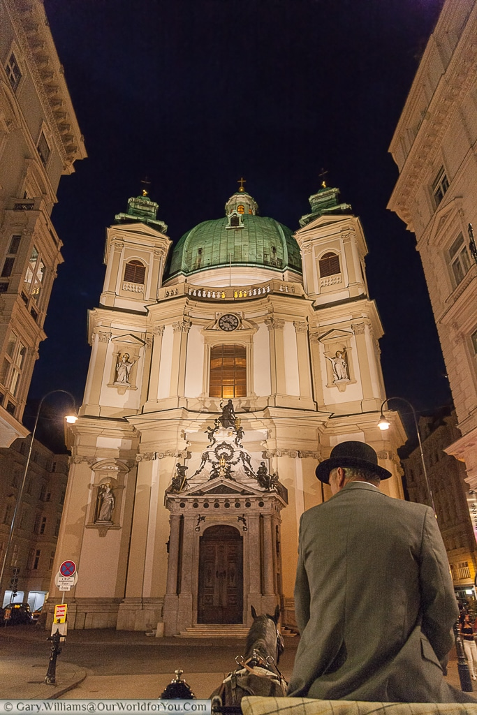 St Peters Church from a horse-drawn carriage, Vienna, Austria