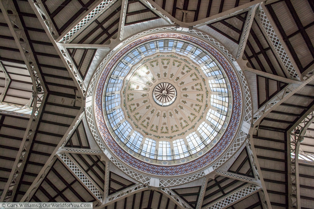 The interior of the dome of the Mercado Central, Valencia, Spain