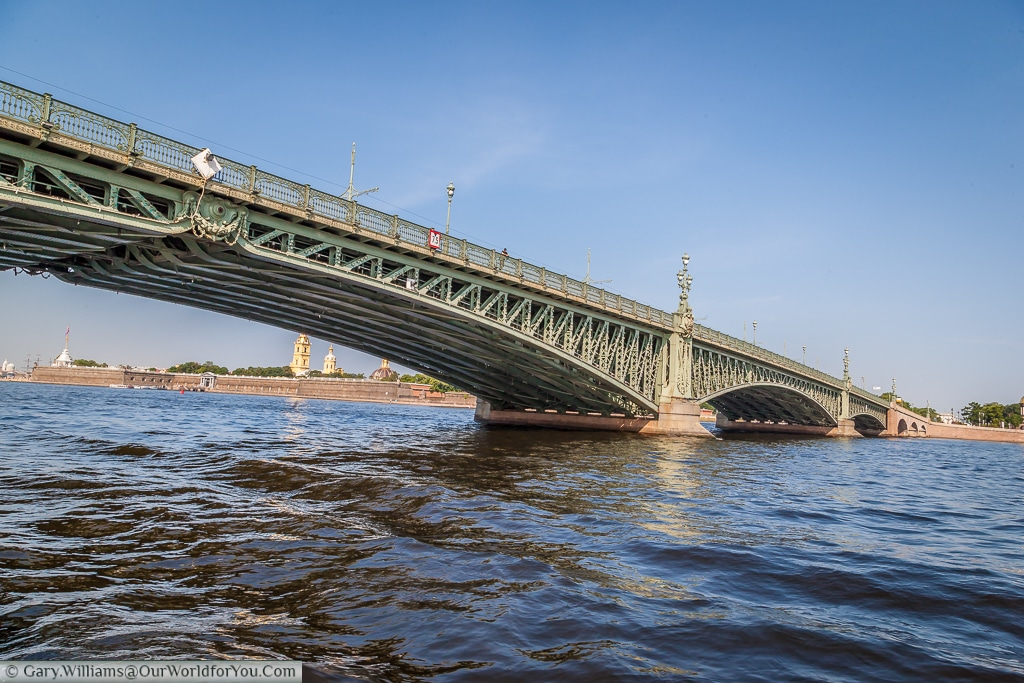 Floating under the Trinity Bridge on the River Neva, St Petersburg, Russia