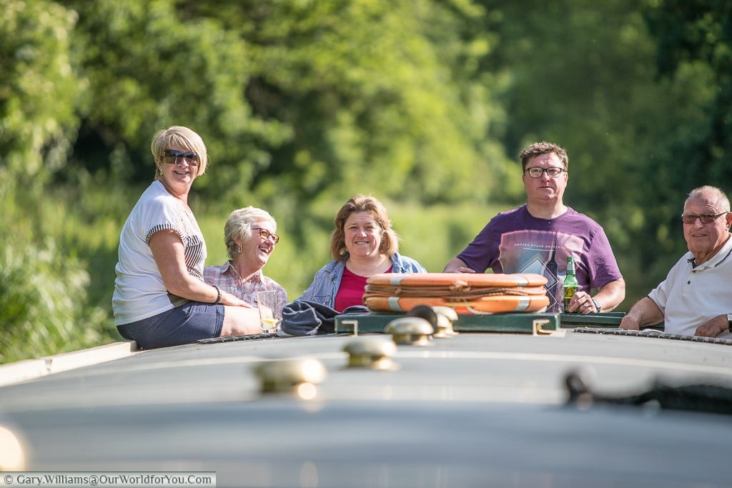 The family on Moonbeam, from Moonraker Canalboats on the Kennet & Avon Canal, England, United Kingdom