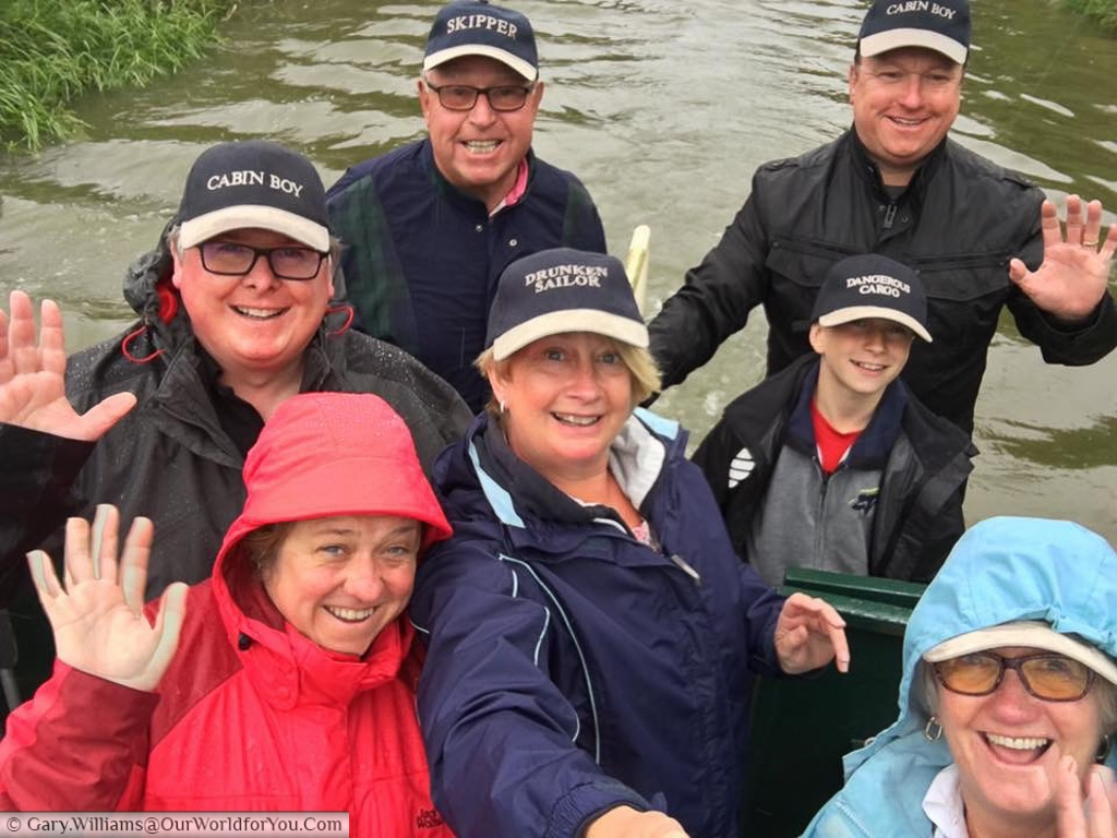 Team 'Wet but Happy' on-board Moonbeam on the Kennet & Avon Canal, England, United Kindgom
