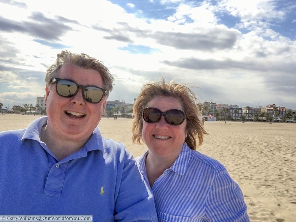 Janis & Gary on Playa La Malvarrosa, Valencia, Spain