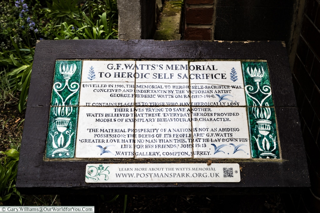 The Watts's memorial plaque in the Postman's Park, City of London.