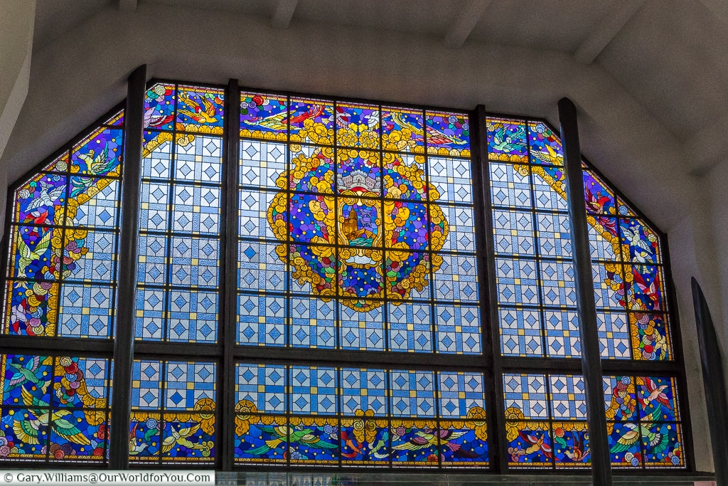 One of the stained glass windows of the Mercado, Bilbao, Spain