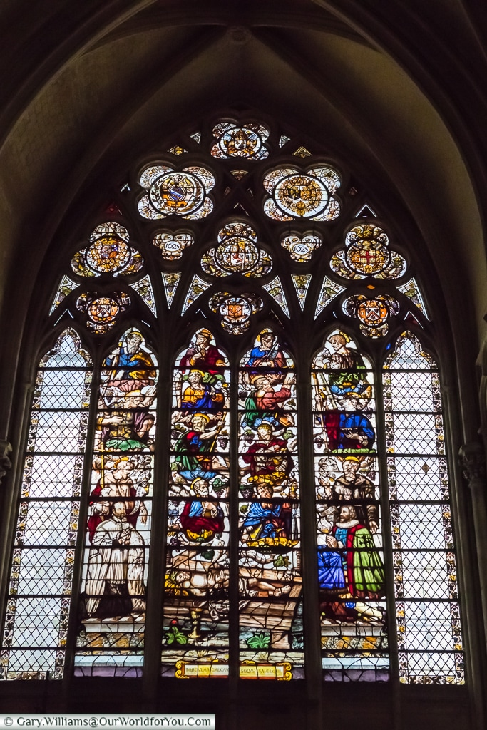 Stained glass windows in the Cathedral, Troyes, Champagne, Grand Est, France