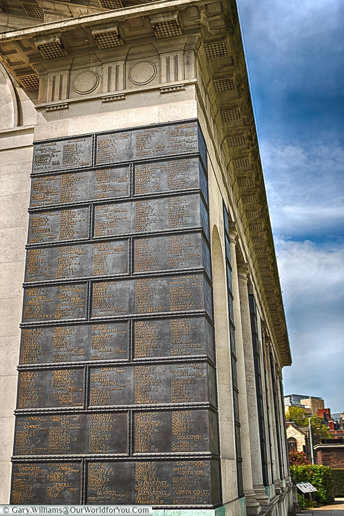 Close-up of the plaques on the WWI Tower Hill Memorial,  London, England
