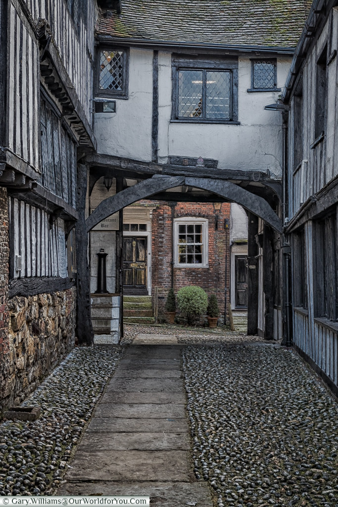 Cobbled Courtyard at the Mermaid Inn, Rye, East Sussex, England, UK
