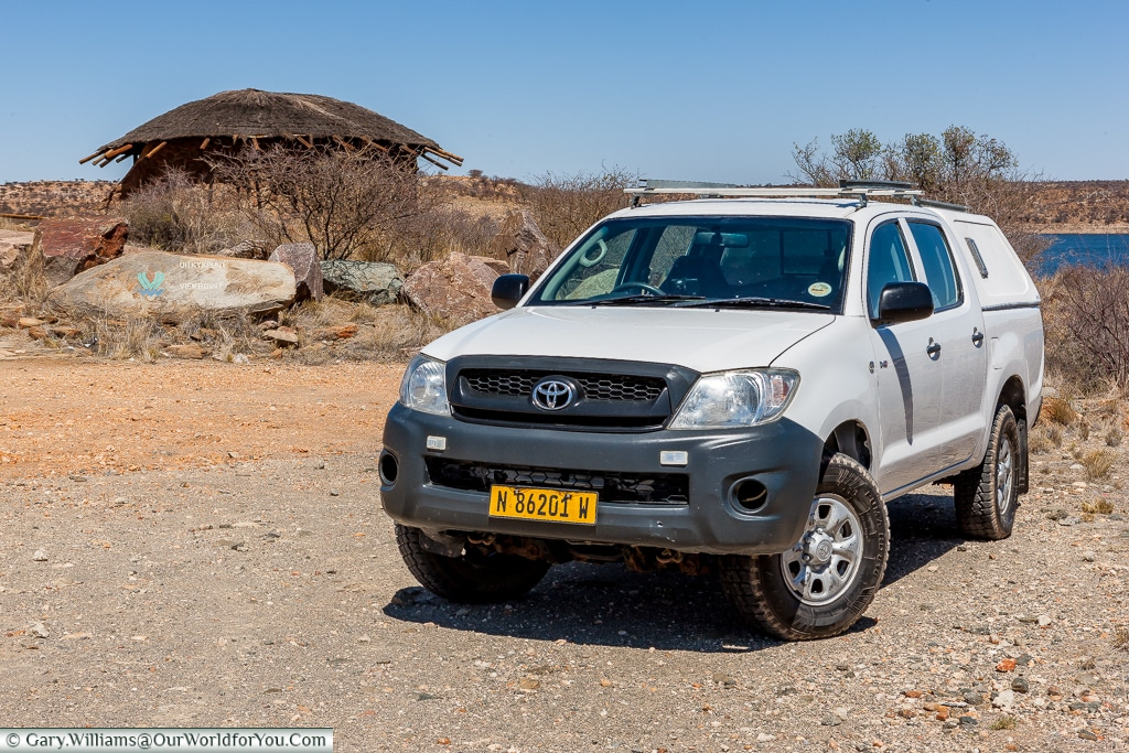 Heidi the Hilux at Lake Oanob, Namibia